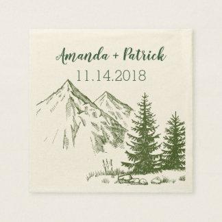 Rustic Scenic Mountain Wedding Reception Napkins Paper Napkin