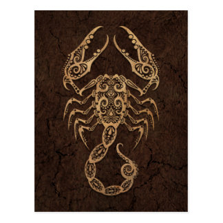 Rustic Scorpio Zodiac Sign on Stone Effect Postcard