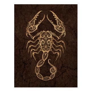 Rustic Scorpio Zodiac Sign on Stone Effect Postcard