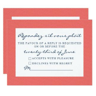 Rustic Seahorse Response Card- Navy and Coral Card