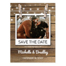 Rustic Selfie Photo Fairy Lights Save the Date