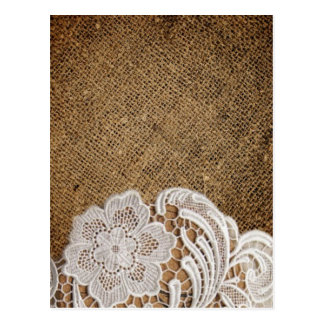 rustic shabby chic girly country burlap and lace postcard