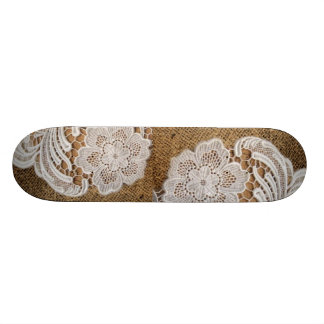 rustic shabby chic girly country burlap and lace skate board deck