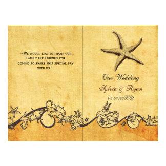 Rustic shabby chic star fish beach Wedding program 21.5 Cm X 28 Cm Flyer