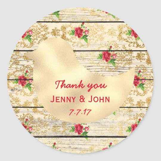 Rustic Shabby Chic Wedding Thank you Floral Wood