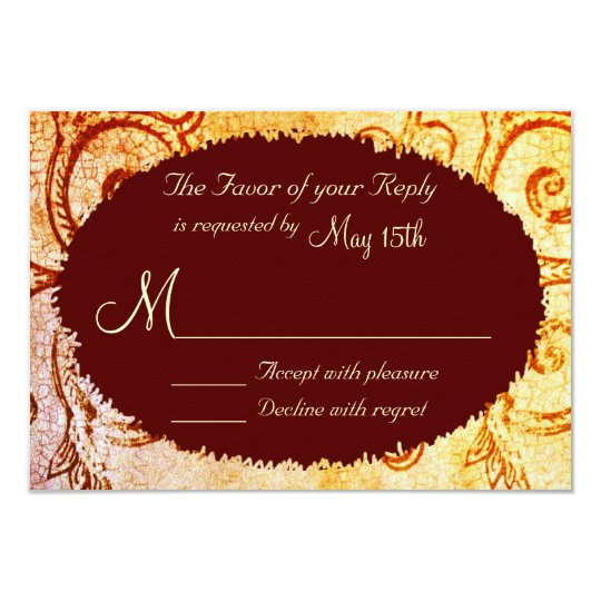 Rustic Shabby Country Maroon Wedding RSVP Cards