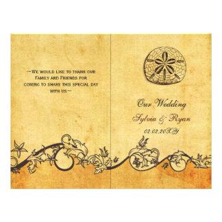 Rustic shabby sand dollar beach Wedding program 21.5 Cm X 28 Cm Flyer