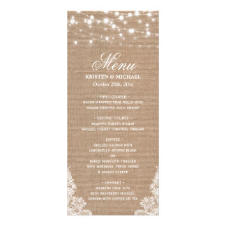 Rustic Shabby Wedding Menu | String Lights Lace Rack Card Template