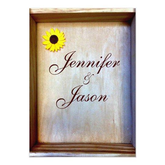 Rustic Shadow Box Sunflower Wedding Invitation