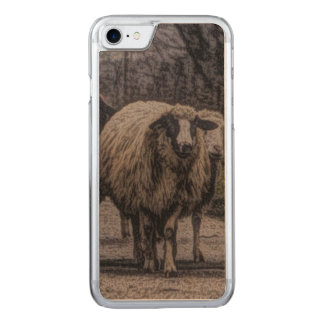 Rustic sheep on road carved iPhone 8/7 case