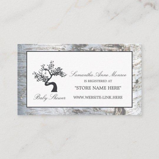 Rustic Silver Birch Tree Baby Shower Gift Registry Enclosure Card