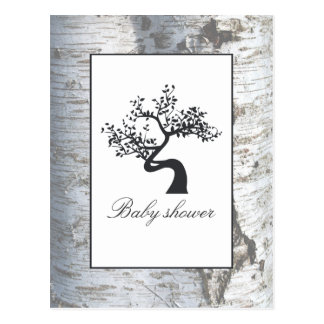 Rustic Silver Birch Tree Baby Shower Invitation Postcard
