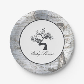 Rustic Silver Birch Tree Baby Shower Paper Plate