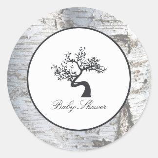 Rustic Silver Birch Tree Baby Shower Round Sticker