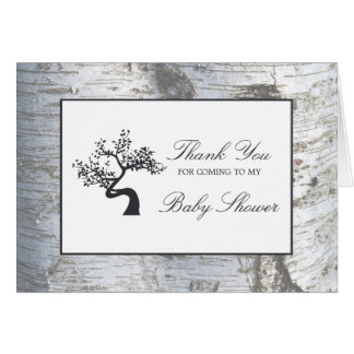 Rustic Silver Birch Tree Baby Shower Thank You Card