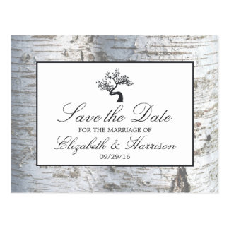Rustic Silver Birch Tree Save The Date Postcard