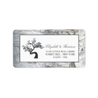 Rustic Silver Birch Tree Wedding Address Label