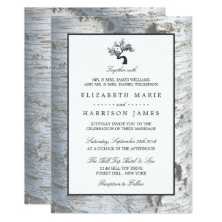 Rustic Silver Birch Tree Wedding Card