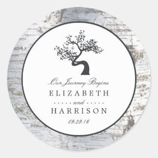 Rustic Silver Birch Tree Wedding Classic Round Sticker