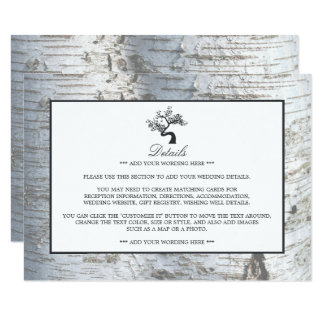 Rustic Silver Birch Tree Wedding Detail Card