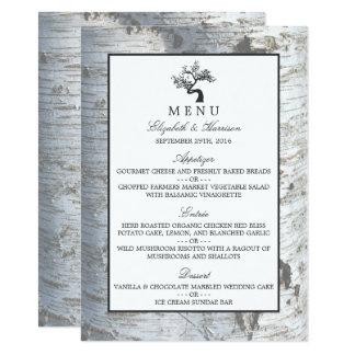 Rustic Silver Birch Tree Wedding Menu 11 Cm X 16 Cm Invitation Card