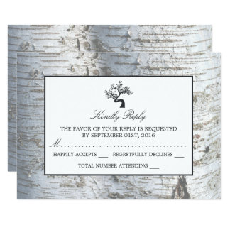 Rustic Silver Birch Tree Wedding RSVP 9 Cm X 13 Cm Invitation Card