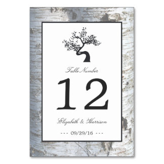 Rustic Silver Birch Tree Wedding Table No. Card