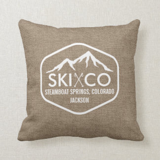 Rustic Ski Mountain Steamboat Colorado Burlap Cushion