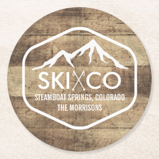Rustic Ski Mountain Steamboat Colorado Wood Look Round Paper Coaster