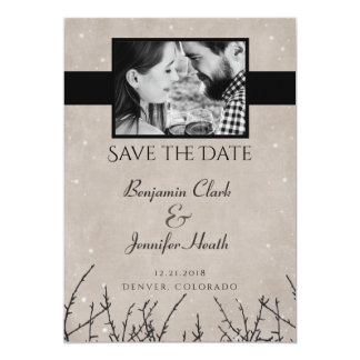 Rustic Snow Branch Save the Date Card