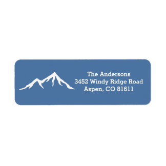 Rustic Snow Capped Mountains Custom Return Address Label
