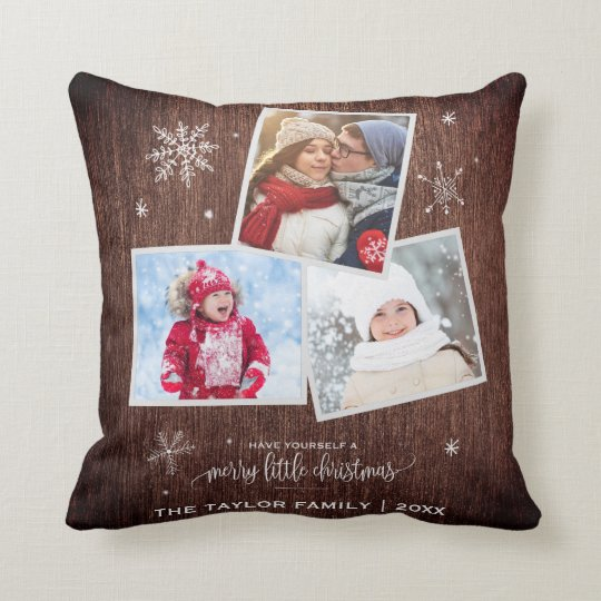 Rustic Snowflake | 3 Photo Christmas Cushion