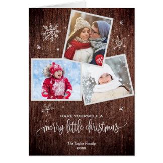 Rustic Snowflake | 3 Photo Christmas Photo Card