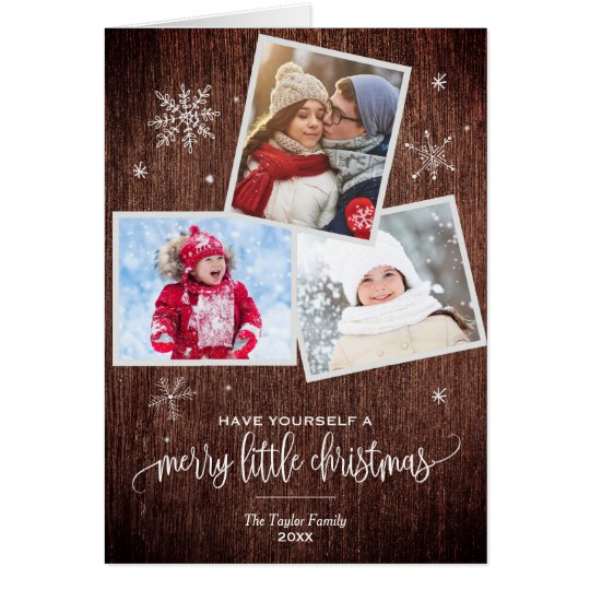 Rustic Snowflake | 3 Photo Christmas Photo Card