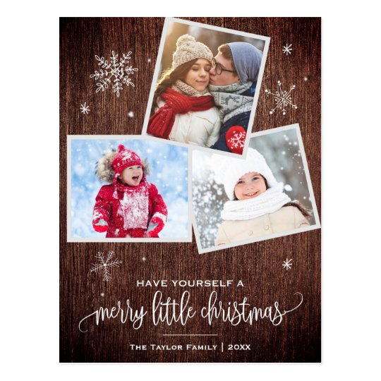 Rustic Snowflake | 3 Photo Christmas Postcard