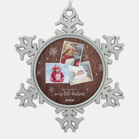 Rustic Snowflake | 3 Photo Holiday Snowflake Pewter Christmas Ornament