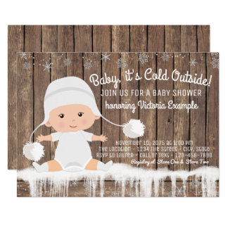 Rustic Snowflake Baby its Cold Outside Baby Shower 13 Cm X 18 Cm Invitation Card