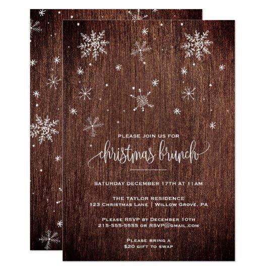 Rustic Snowflake Christmas Brunch Card