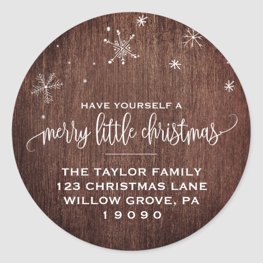 Rustic Snowflake Christmas Return Address Classic Round Sticker