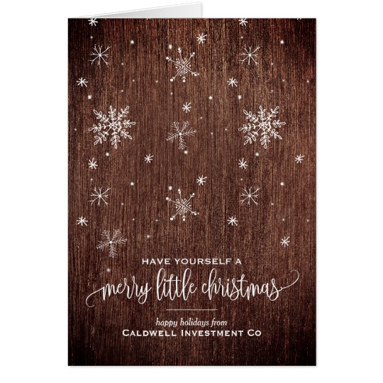 Rustic Snowflake Corporate Holiday Card