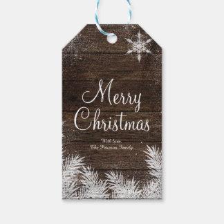 Rustic snowflake wood winter christmas holiday gift tags