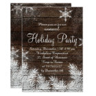 Rustic snowflake wood winter corporate holiday card