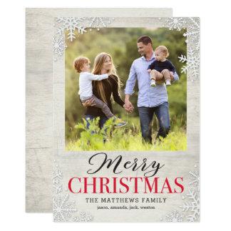 Rustic Snowflakes Christmas Holiday Photo Card