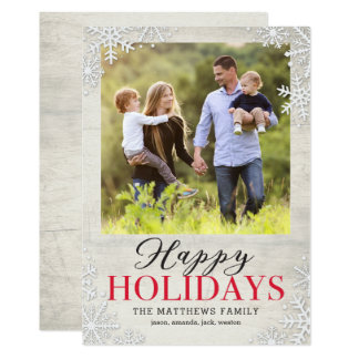 Rustic Snowflakes Happy Holidays Photo Card
