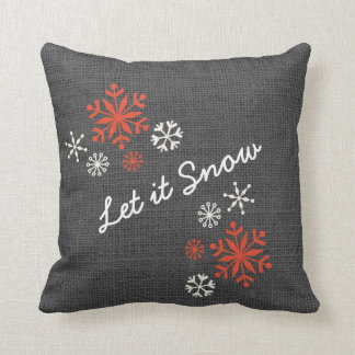 Rustic Snowflakes Let It Snow Red Gray Burlap Cushion