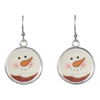 Rustic snowman earrings