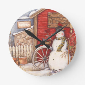 Rustic Snowman Winter Scene Round Clock