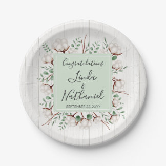Rustic Southern Cotton & Wood Country Farm Wedding Paper Plate
