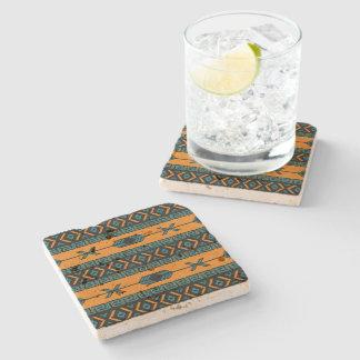 Rustic Southwest Tribal Aztec Pattern Travertine Stone Beverage Coaster