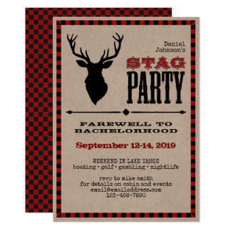 Rustic Stag Bachelor Party 13 Cm X 18 Cm Invitation Card